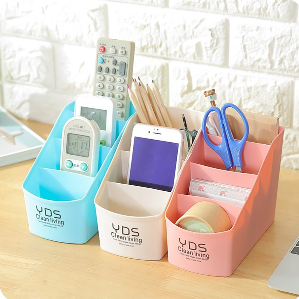 Plastic Desktop Storage Box 4 Grids Pen Pencil Tableware Organizer Box Makeup Cosmetic Storage Underwear Socks Finishing Box