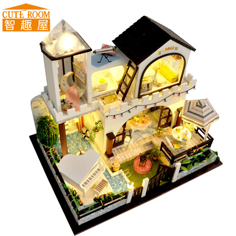 Assemble DIY Doll House Toy Wooden Miniatura Doll Houses Miniature Dollhouse toys With Furniture LED Lights Birthday Gift TB3 handmade doll house furniture miniatura diy building kits miniature dollhouse wooden toys for children birthday gift craft