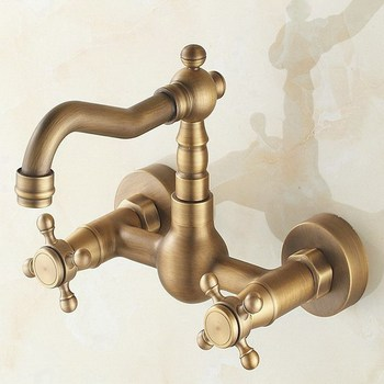 Wall Mounted Vintage Antique Brass Double Cross Handles Bathroom Kitchen Sink Faucet Mixer Tap Swivel Spout atf003