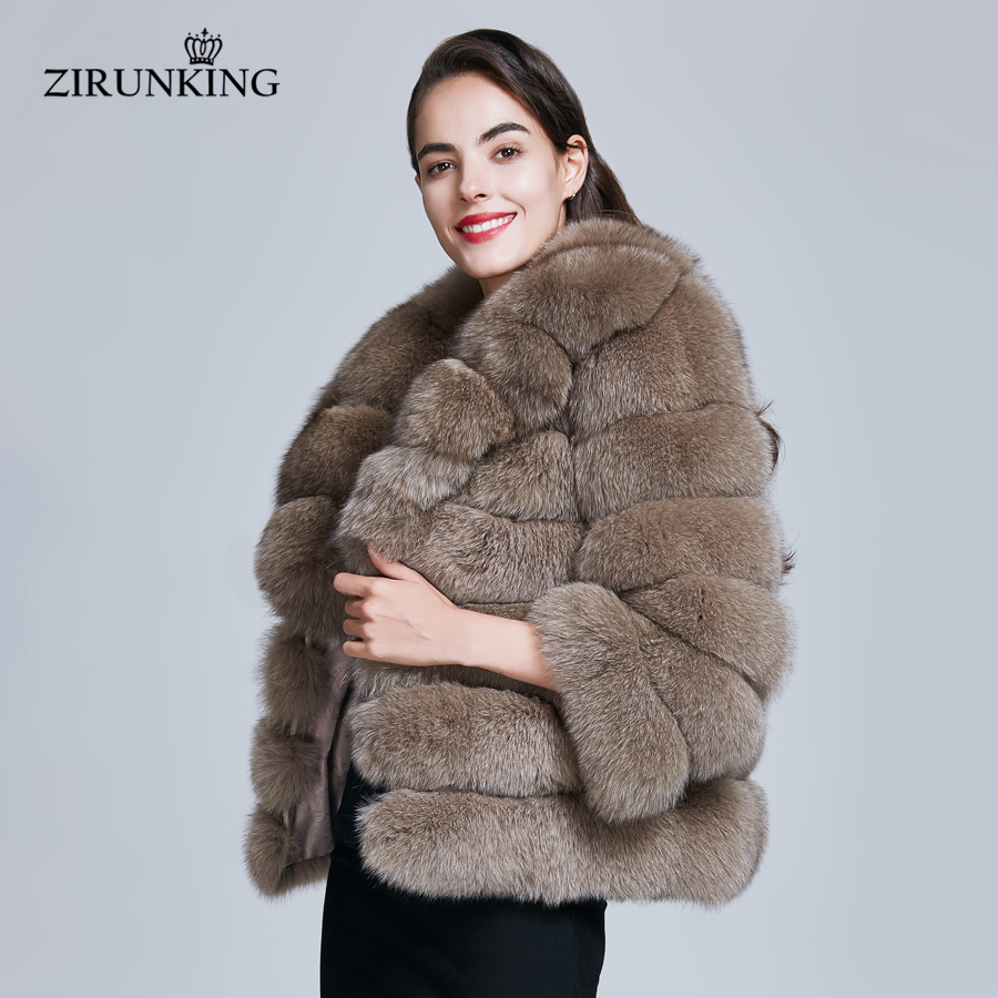 ZIRUNKING Women Fashion Real Fox Fur Coats Female Warm Natural Fox Fur Jacket Overcoat Winter Thick Outerwear Clothing ZC1729