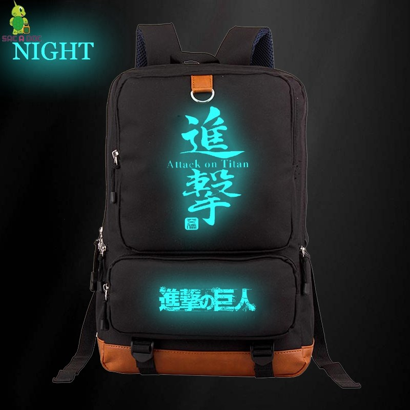 Anime Attack on Titan Luminous Daily Backpack Women Men Laptop Backpack School Bags for Teenagers Boys Girls Large Travel BagsAnime Attack on Titan Luminous Daily Backpack Women Men Laptop Backpack School Bags for Teenagers Boys Girls Large Travel Bags