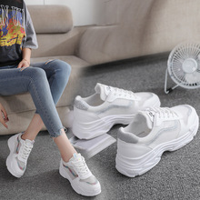 цена на HEEGRAND Women Mesh Shoes White Creepers Lace-Up Round Toe Platforms Summer 2019 Breathable Casual Flats Drop shipping XWC1541