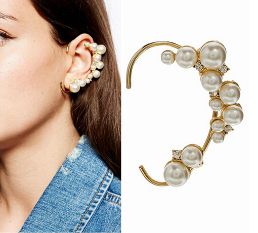 2017 Hot Fashion Ear Cuff Women S Crystal Jewelry Simple Stylish Simulated Pearl Clip Earrings For