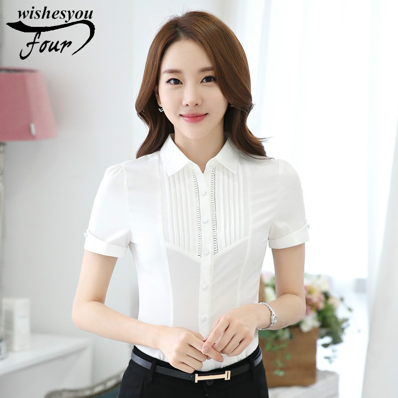 Women Blouse 2017 Casual Style OL Short Sleeved White Shirt Front Overalls Striped Shirt ...
