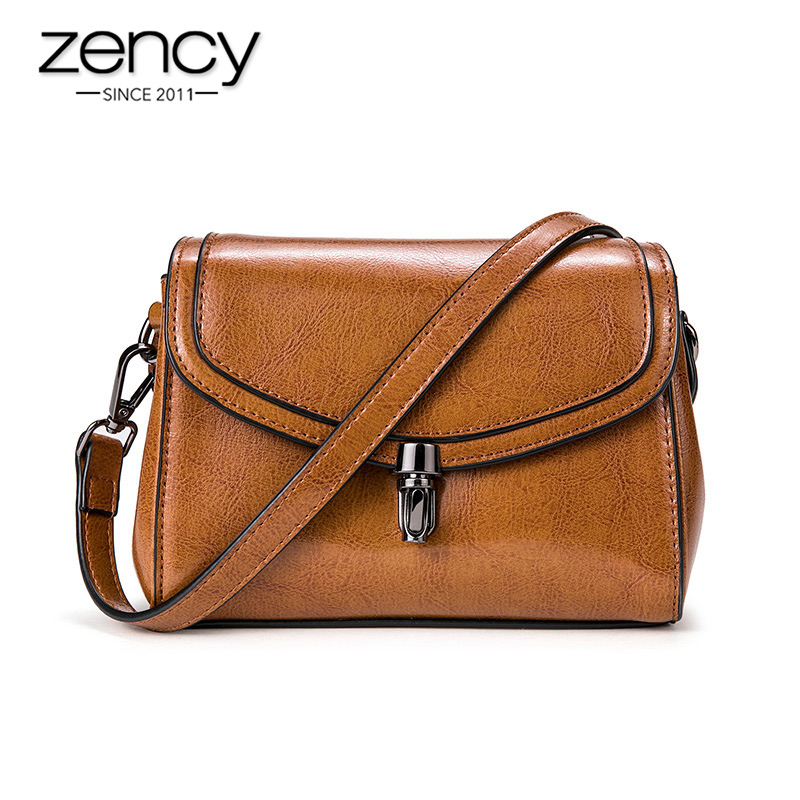 Zency Vintage Women Messenger Bag 100% Genuine Leather Classic Black Handbag Daily Casual Shoulder Crossbody Brown Small Flap
