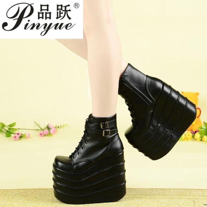 Noir/blanc talons hauts Punk Rock femmes bottines escarpins décontractés plate-forme chaussures à talons hauts printemps Punk Rock chaussures à talons épais