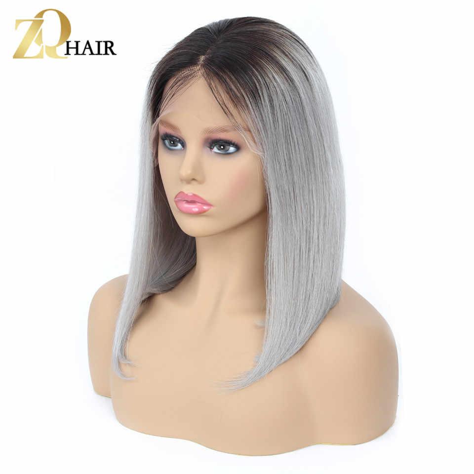 Боб парики, бразильские волосы короткие Синтетические волосы на кружеве человеческих волос парики 1B/99J синий 27 Серый Розовый Remy прямое, Омбре Синтетические волосы на кружеве парик ZQ волос