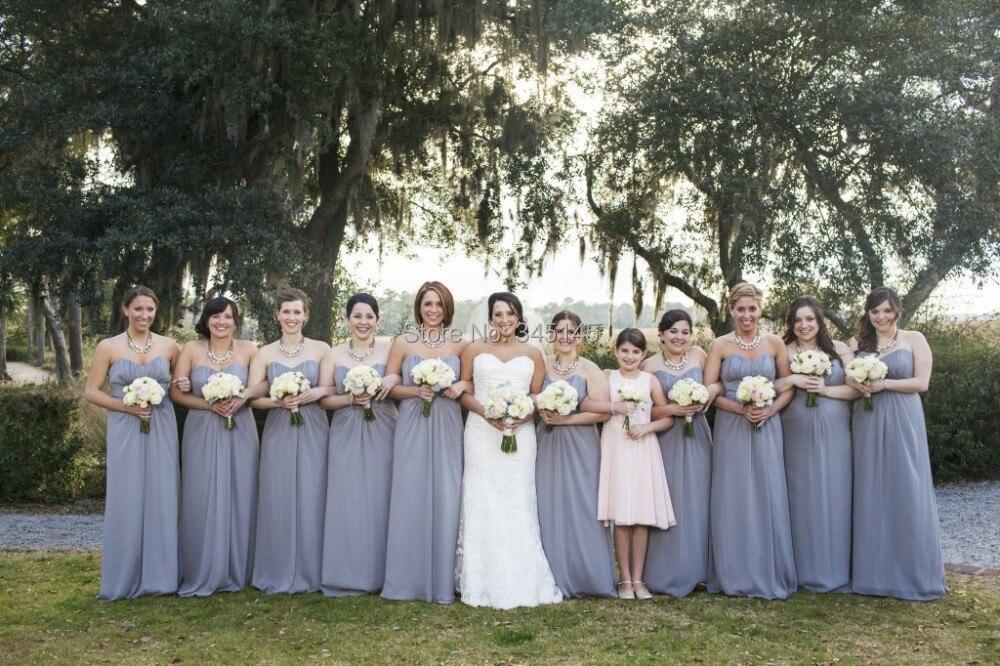Grey Chiffon Empire Waist   Bridesmaid     Dress   Off the Shoulder Sweetheart Pleat Long A Line Summer