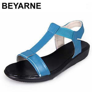 Image 2 - BEYARNE Genuine Leather Women Comfortable Flat Shoes Soft bottom Elastic Sandals Black White blue Lady Summer Shoes Female