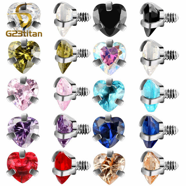 G23titan Body Piercing Ball 16G Internally Threaded Heart Style Lip Eyebrow Tongue Belly Navel Ring Body Jewelry Piercing Parts