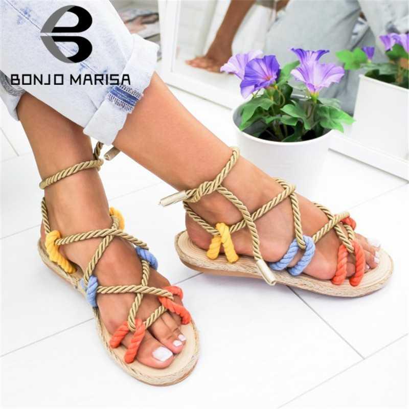 BONJOMARISA yeni INS sıcak satış kenevir halat gladyatör sandalet kadın 2020 yaz moda büyük boy 35-43 kadın yüksek topuklu ayakkabılar kadın