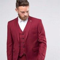 HB035 красивый бордовый Жених Смокинги комплект из 3 предметов свадебные костюмы для выпускного для человека ужин формальный мужской костюмы ...