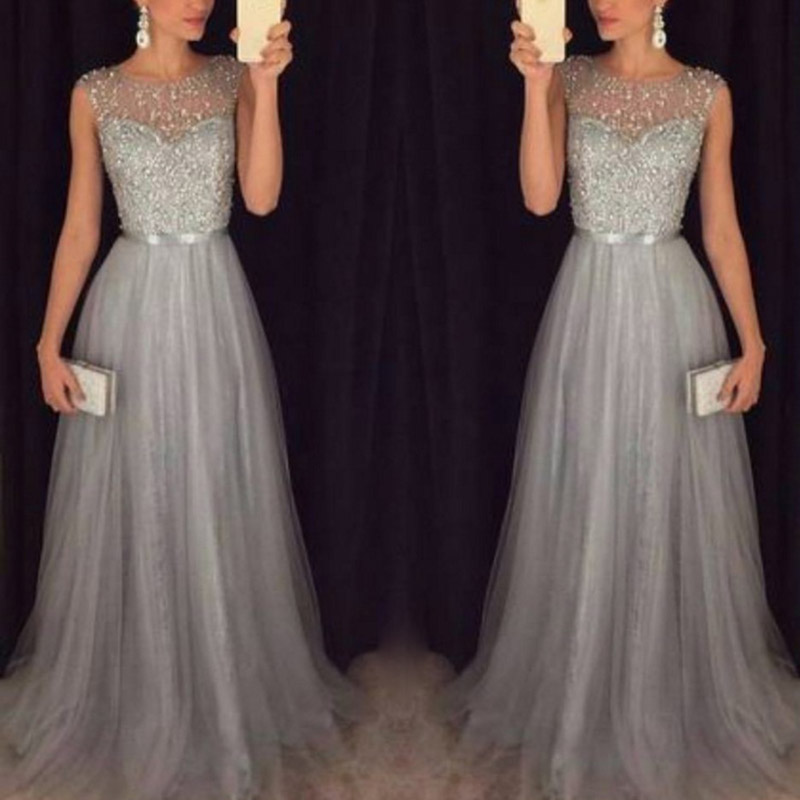 Women Wedding Sequin Maxi Dress Evening Party Ball Prom Gown Dresses H9