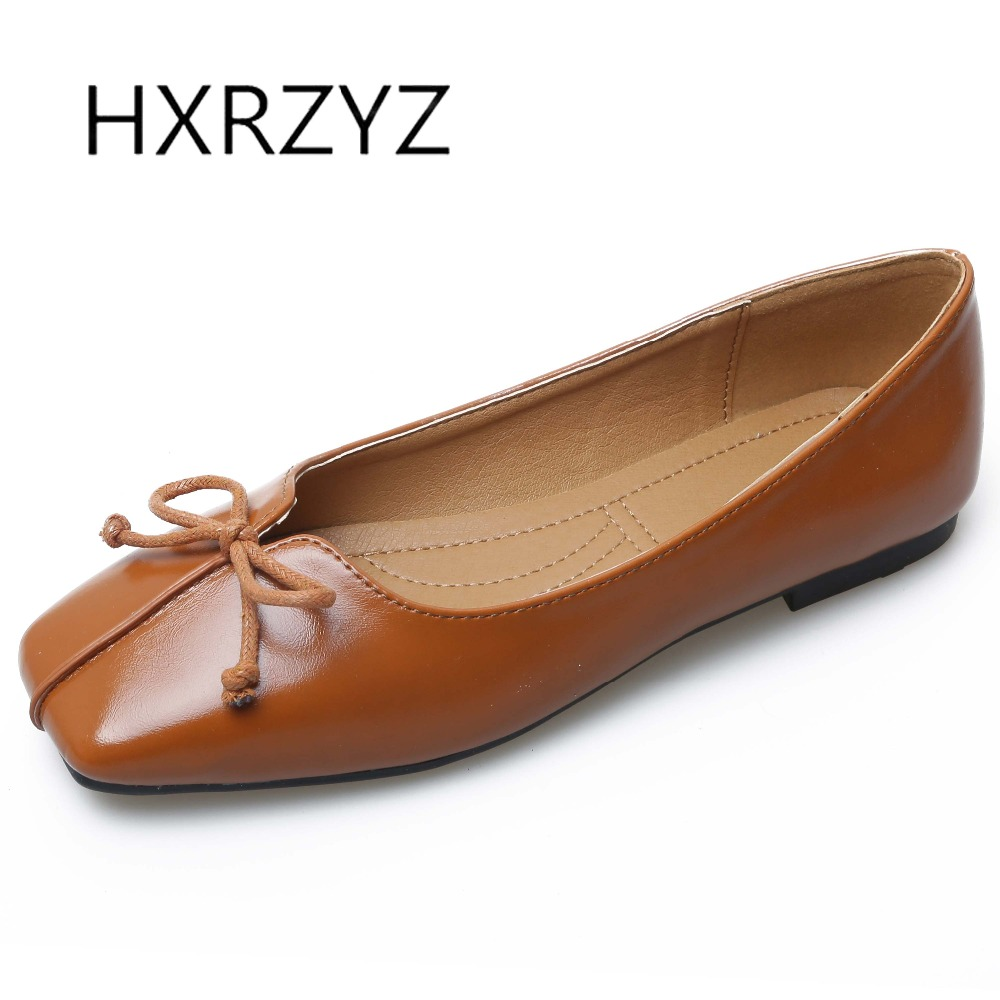 HXRZYZ large size women black flat shoes spring/autumn new fashion ladies bowknot square toe casual shoes female leather loafers 2017 new spring female flat heels martin shoes bullock shoes female thick bottom loafers large size women shoes obuv ayakkab