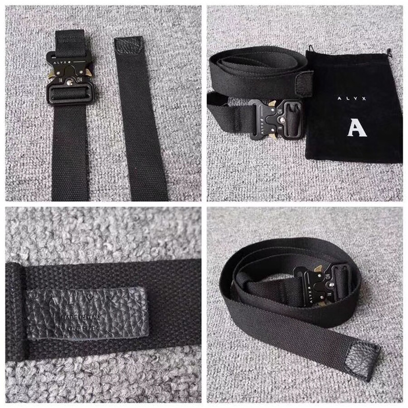 ALYX Belt 128cm Men Women Rollercoaster Metal Button Canvas Belt