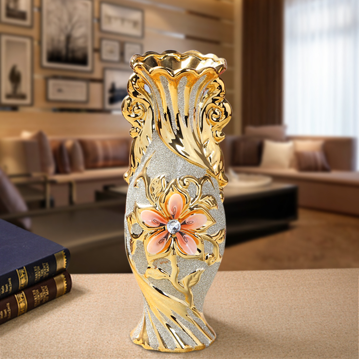 Gold Plated Ceramic Vase 3