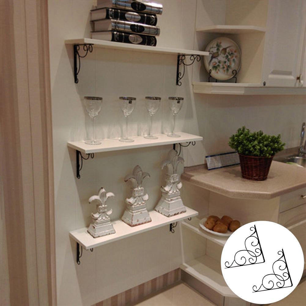 2Pcs Cast Iron Vintage Wall Mounted Triangle Shelf Brace Support Bracket Holder Decorative Shelves
