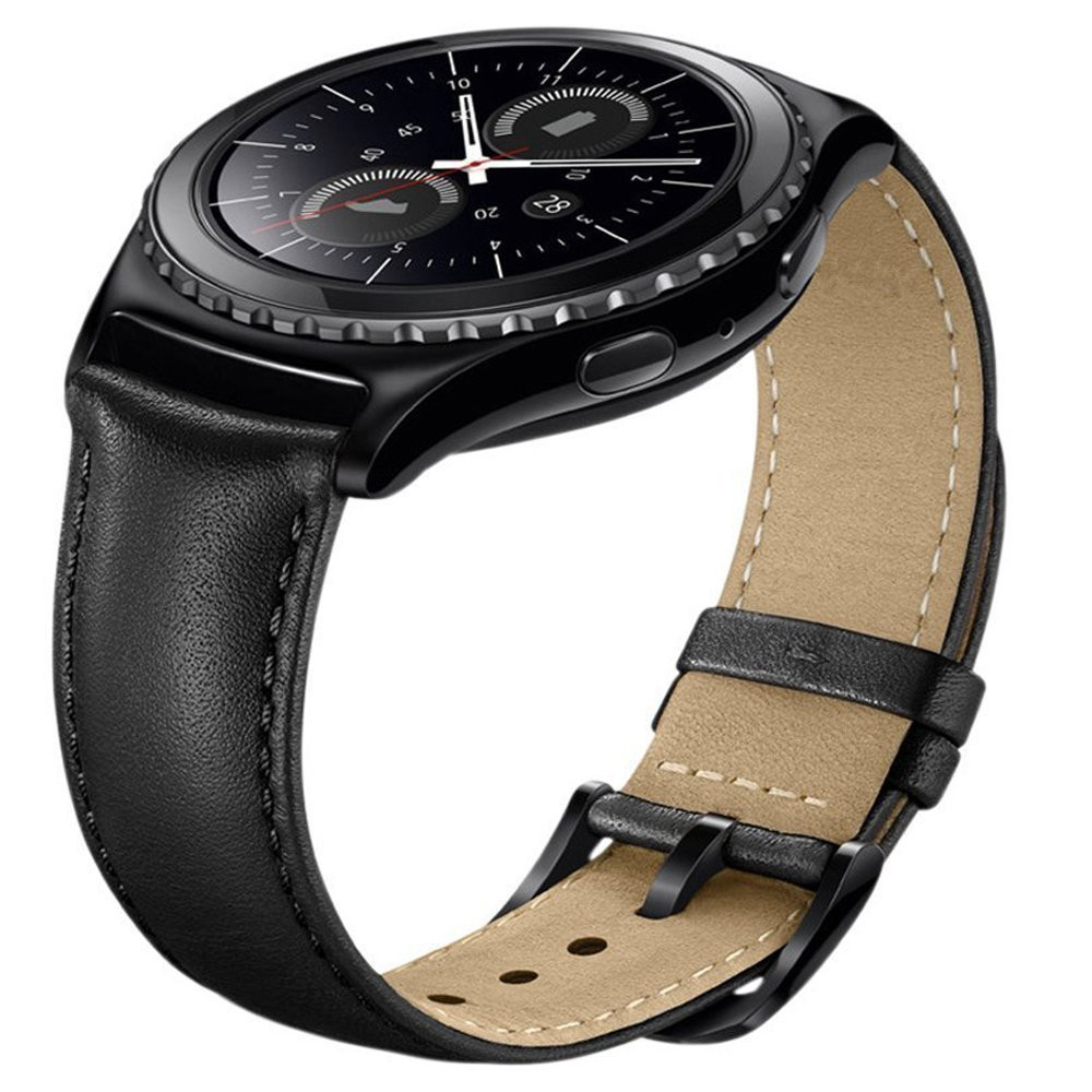 20mm for Gear S2 Classic Smart Watch Band Premium Soft Genuine Leather Strap Replacement band for Samsung Gear S2 Classic bemorcabo 20mm soft premium genuine leather crocodile pattern band bracelet strap for gear sport sm r600 samsung gear s2 classic