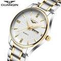 2017 смотреть мужчины GUANQIN мужские часы лучший бренд класса люкс Световой Дата Неделя Водонепроницаемый Кварцевые мужские часы саат erkekler