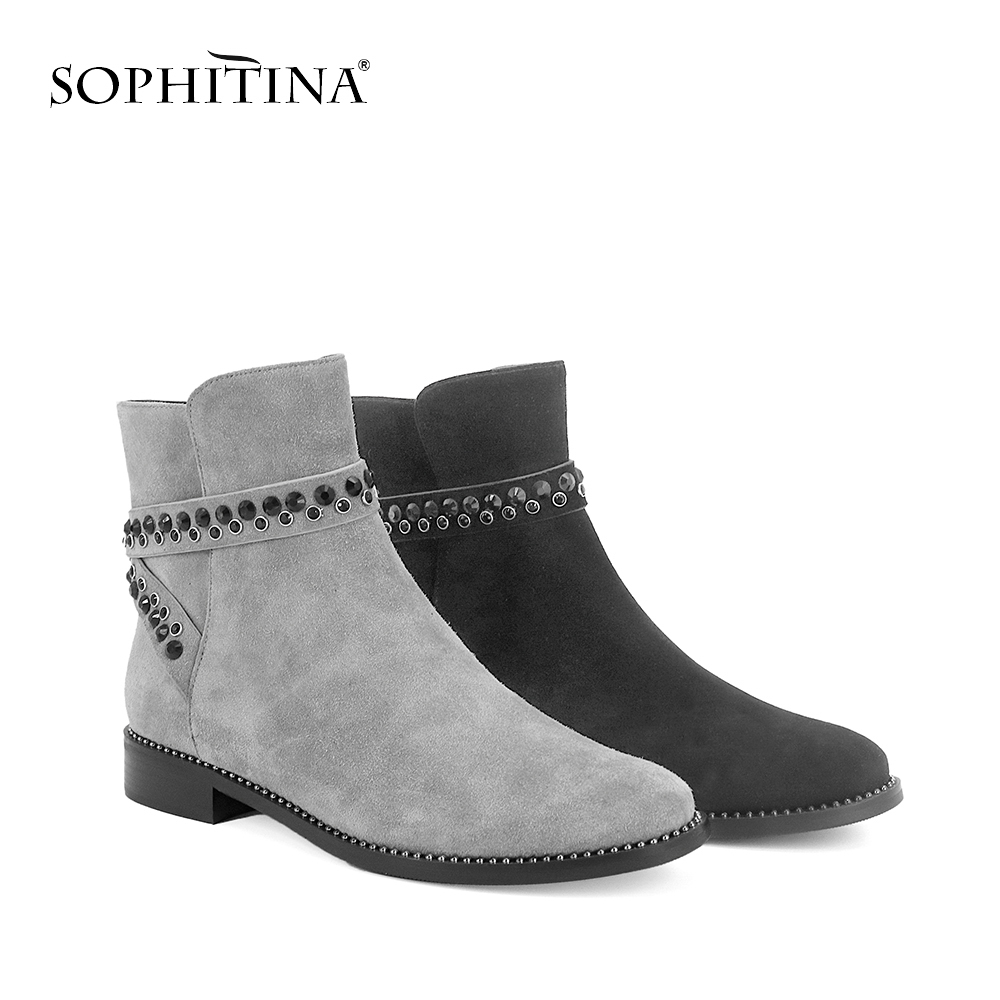 SOPHITINA Women Genuine Leather Ankle Boots Round Toe Cow Leather Warm Shoes Crystal With Buckle Strap Low Heel Casual Boot BA12 new 28 color casual boot genuine leather flats shoes shoelace shoes boot lace shoes strap shoeslaces 500pairs lot via dhl ems