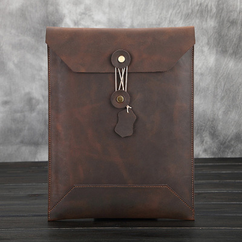 Vintage Men Clutch Envelope Bags Genuine Leather Male Business Document Bags Crazy Horse File Bags Large Casual Totes For Boys