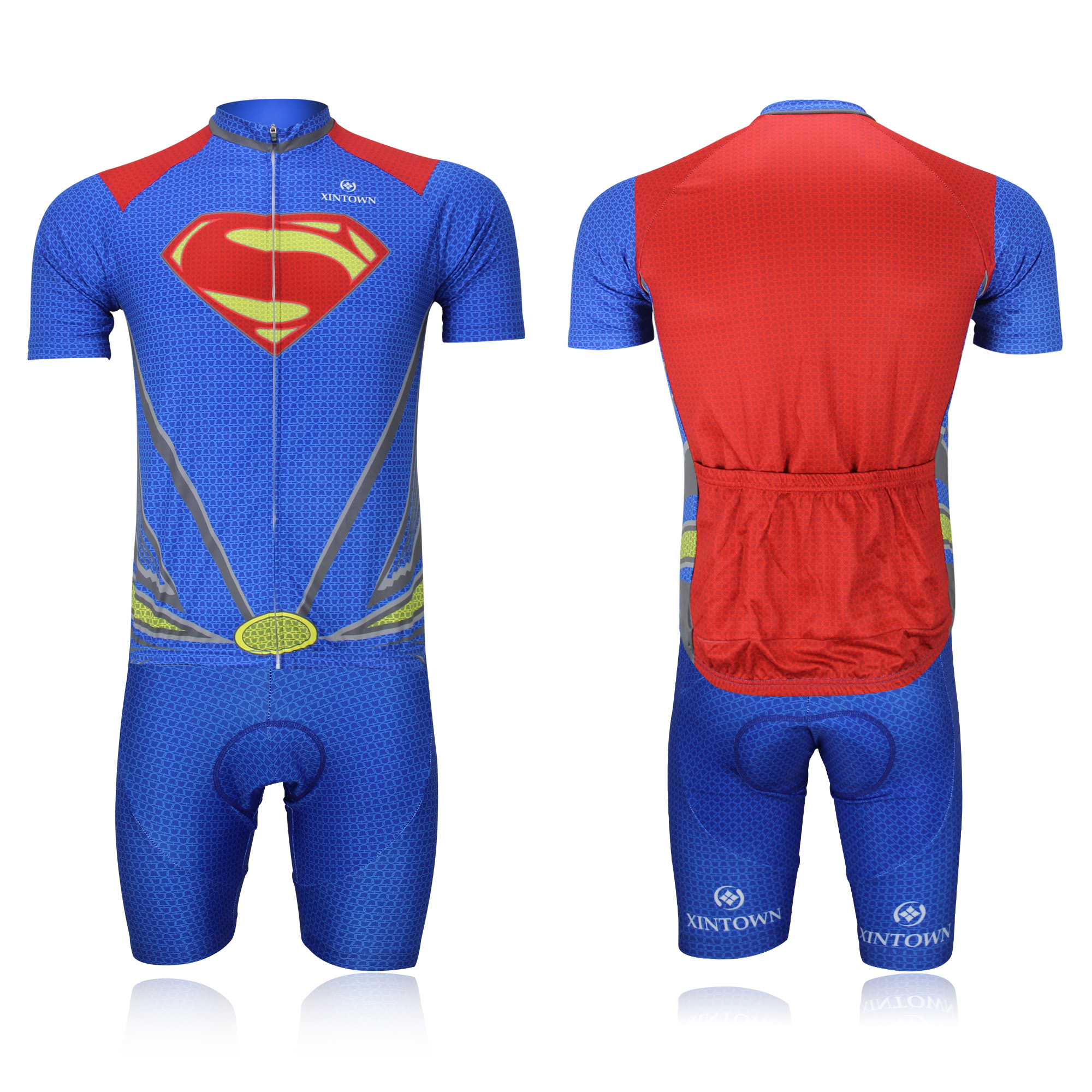 Superman Cycling Jersey Short Sleeve Breathable Cycle Bib Set Polyester  Summer MTB Cycling Clothing Bike Jersey Kit Cycling team 3a6340343