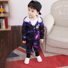 New Autumn Spring Starry Hooded Long Sleeves Children Sets tracksuit Clothing For cool Girls boys Clothes set
