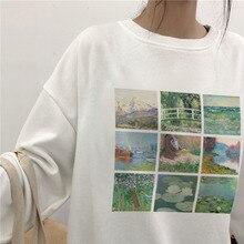 Vintage Monet pintura al óleo mujer weatershirt Invierno Caliente moda suave Grunge estético impreso o-cuello Harajuk Causal Tops
