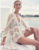 White Lace Blouse Women Sexy See Through Deep V Neck Blouses Holiday Beach Bikini Cover Ups Painted Heart Folds Tops