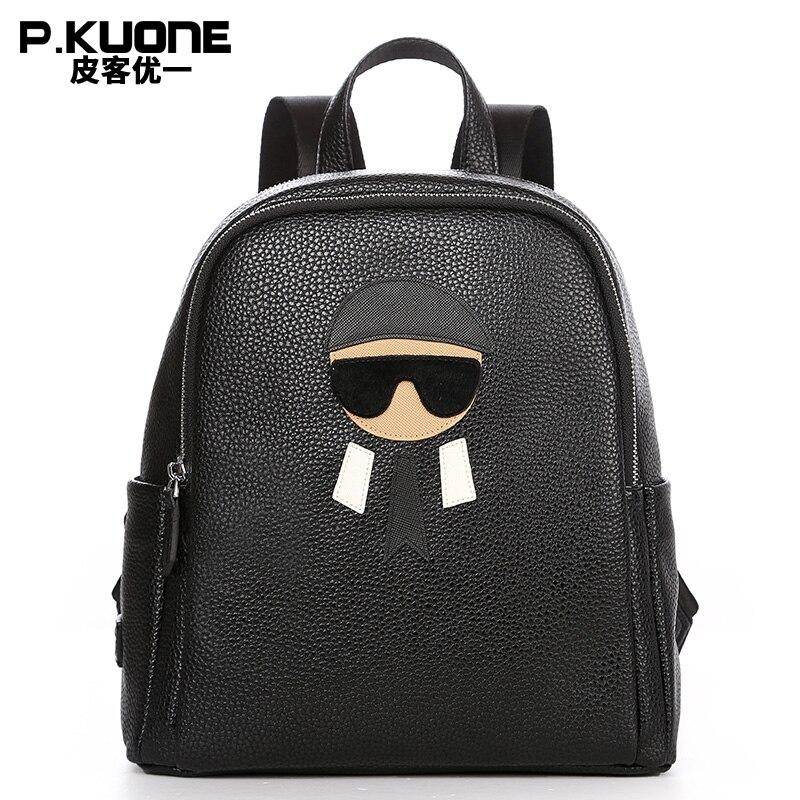 ФОТО P.KUONE Brand Women Leather Small Backpack Soft For Teenage Girls Back Pack Student Travel Rucksack School Book Ipad Bag Black