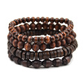 Lychee 1 piece New Arrival Multi Layered Wood Beaded Elastic Bracelet Men Women Unisex Wristband Jewelry