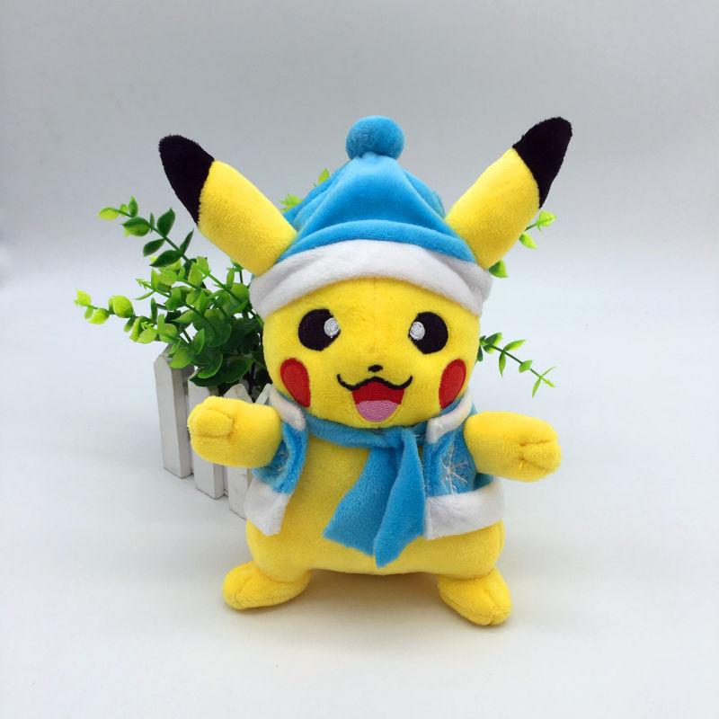 Tecknad karaktär Cosplay Santa Claus Pikachu Pussel Leksaker för barn Kawaii Julklapp Pikachu Fyllda Djur Baby / Barn Toy