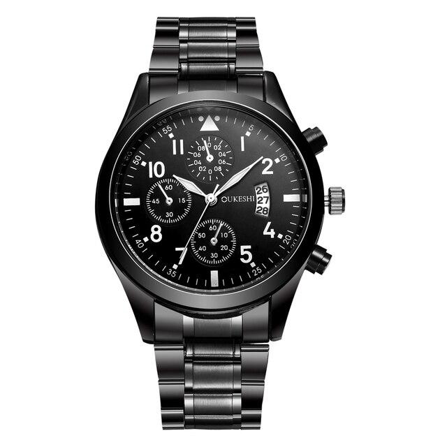 OUKESHI Calendário de Aço Inoxidável Quartz Men Watch Top Marca de Luxo Relógio de Pulso Moda Casual Boutique Preto Relógios Relojes 2017