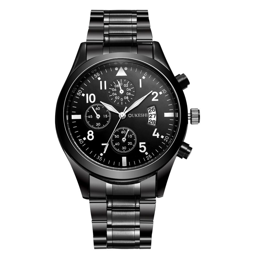 Prix pour OUKESHI Quartz En Acier Inoxydable Montre Homme Top Marque De Luxe Calendrier Montre-Bracelet De Mode Casual Boutique Noir Montres Relojes 2017