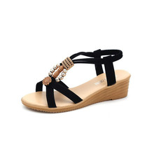 Summer High Heels Sandals Woman  Beach shoes casual Light Weight Anti-Slippery Gladiator Style shoes JINBEILE