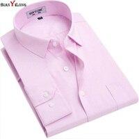 BIANYILONG Brand Long Sleeve Shirt Men Autumn Pink White Black High Quality Solid Shirt Non Iron