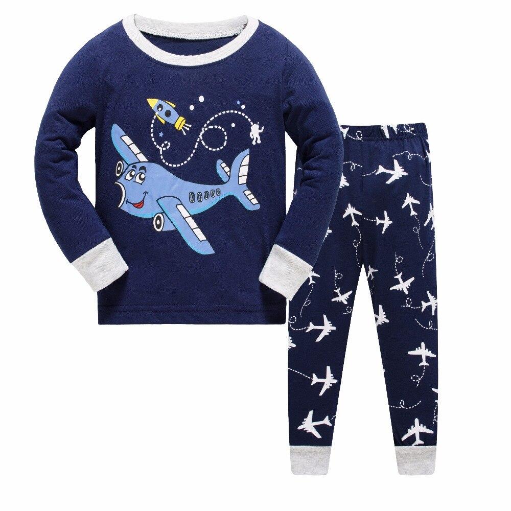 Kinder Pyjamas Jungen Baumwolle Nachtwäsche Flugzeug Cartoon Loungewear Kinder Jungen Homewear Frühling Herbst Nachtwäsche Freies Schiff Jungen Kleidung