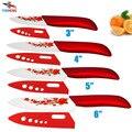 Marca de alta qualidade da sharp cerâmica findking faca conjunto de ferramentas 3 4 5 6 Facas de Cozinha com flor vermelha + Dropshipping cobre