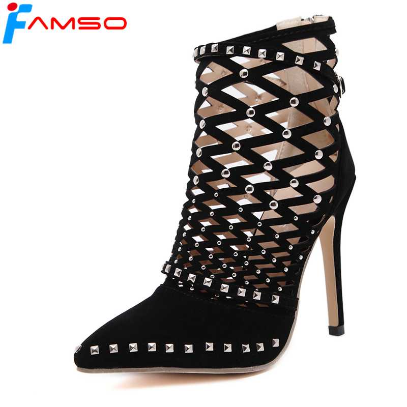 FAMSO 2018 New Sexy Women Boots  Pointed toe Black Rivets Shoes Cut-outs Summer Female Designer High Heels Ankle Boots 2016 hot sale new brand womens high heels sandals summer breathable fashion rivets sexy pointed toe female cut outs casual shoes