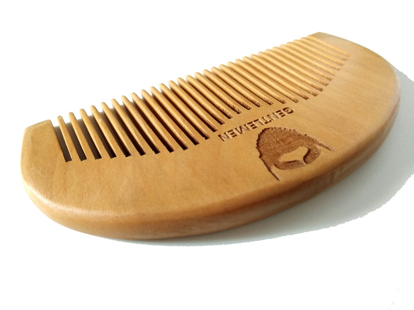 Wood Pocket Beard Comb Wholesale Small Peach Wood Hair Brush Comb For Gentleman engraved logo in Combs from Beauty Health