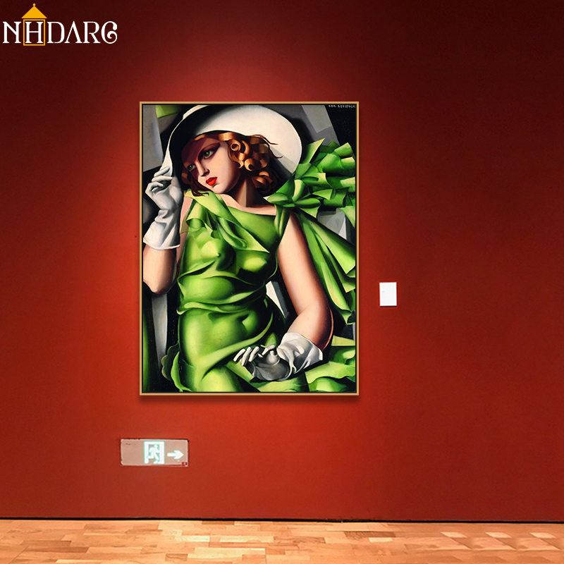Canvas Art Print Painting Poster European Fashion Young Girl in Green by Tamara de Lempicka, Wall Pictures For Home Decoration