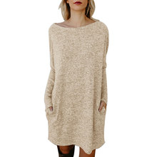 Casual Style Women's Dress for Autumn Winter 2018 New Solid Color Full Sleeve Knitted Bodycon Dress for Female Vestidos