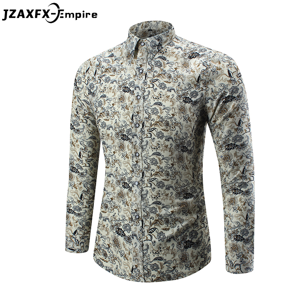 2018 New Fashion Casual Men Shirt Long Sleeve Europe Style Slim Fit Shirt Men High Quality Floral Shirts Camisa Masculina