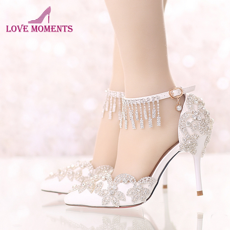 Rhinestone Buckle Straps White Wedding Shoes Pointed Toe 3 Inches Comfortable Bridal Party Dancing Summer