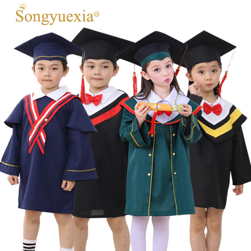 SONGYUEXIA Children Academic Clothing Doctor School Clothes Kid Graduation Student Costumes Kindergarten Graduated Girl Boy