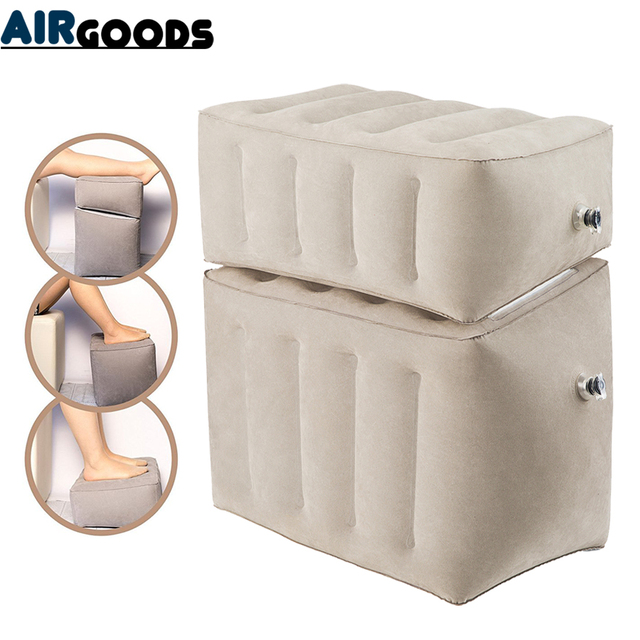 Inflatable Dismountable Footrest Pillow Kids Flight Footrest Pillow Separate As 3 Different Heights Travel Pillow Foot Pad