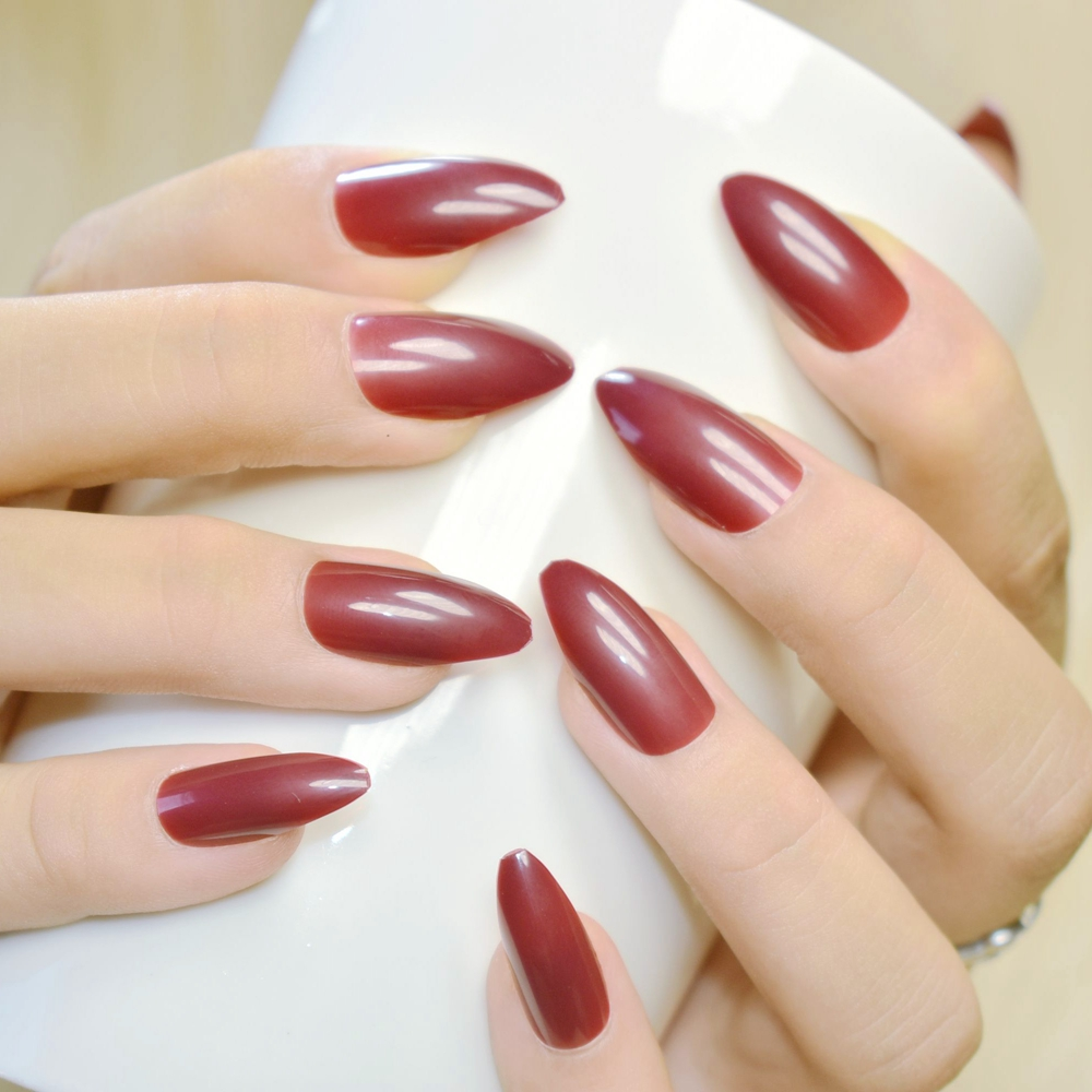 Pure Dark Red Wine Acrylic Press On Nails Waterdrop Shape Pointed ...