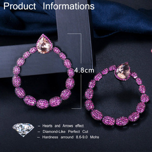 Image 5 - CWWZircons Micro Pave Hot Pink Cubic Zirconia Stone Black Gold Large Round Dangle Drop Earrings for Women Brand Jewelry CZ563