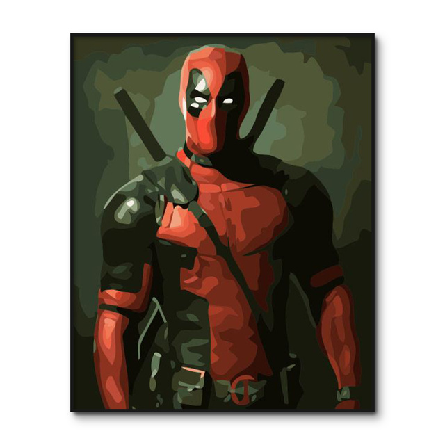 Deadpool Poster painting by numbers Framed Movies Coloring by number Home Decor Acrylic Paint by Number Kits