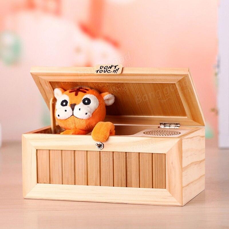 Mise à niveau En Bois Électronique Nul Box avec Son Mignon Tigre 10 Modes Drôle Jouet Cadeau de Réduction Du Stress Bureau Décoration